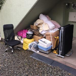 那珂川町 - 折り畳みベッド・イス(引越しゴミ)の回収作業例